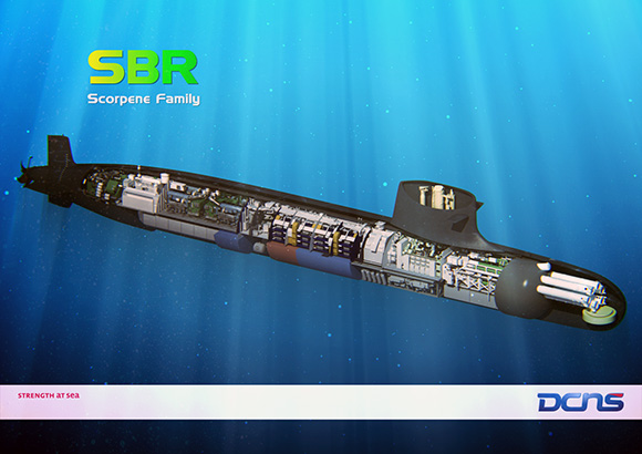 Os SBR da Marinha do Brasil são baseados nos submarinos da classe Scorpène da DCNS. (Imagem: DCNS)