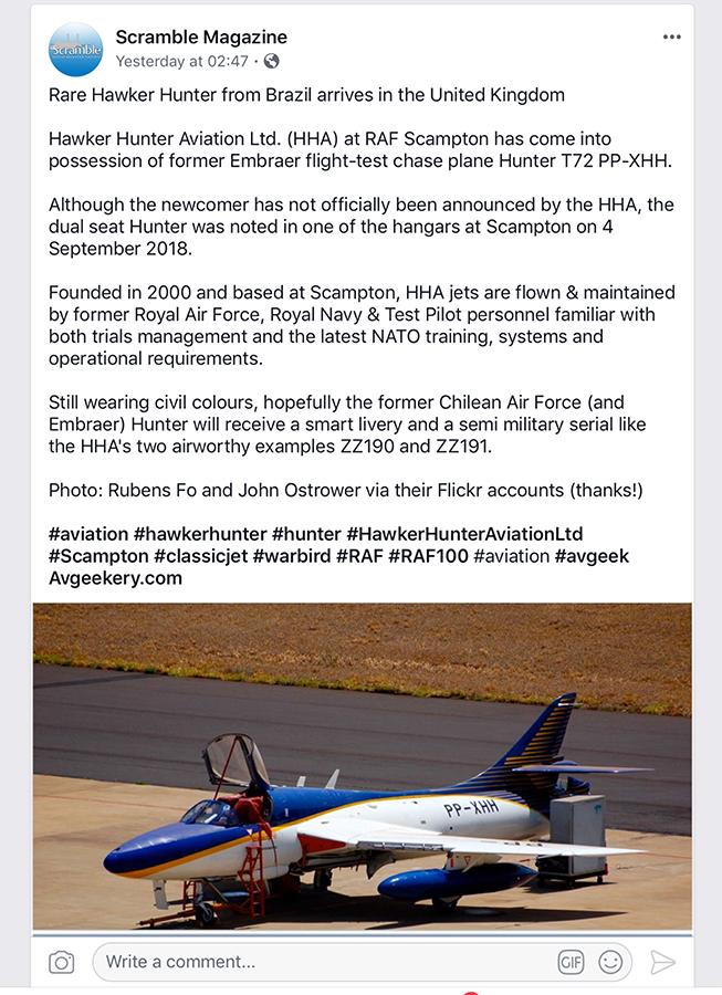 """O raro Hawker Hunter T 72 PP-XHH """"chase plane"""" já não é mais"""