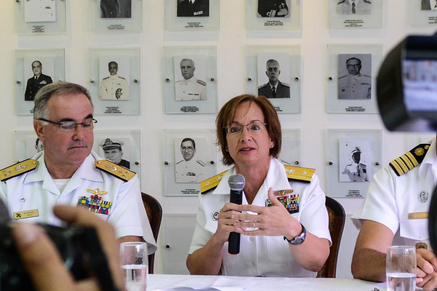 151114-N-WO404-265 ATLANTIC OCEAN (Nov. 14, 2015) Rear Adm. Lisa Franchetti, commander of Carrier Strike Group Nine, answers questions during a press conference for UNITAS 2015. UNITAS 2015, the U.S. Navy's longest running annual multinational maritime exercise, is part of the Southern Seas deployment planned by U.S. Naval Forces Southern Command/U.S. 4th Fleet. This 56th iteration of UNITAS is conducted in two phases: UNITAS PACIFIC, hosted by Chile in October 2015 and UNITAS Atlantic hosted by Brazil in November. (U.S. Navy photo by Mass Communication Specialist 3rd Class Jonathan Aaron Nelson/Released)