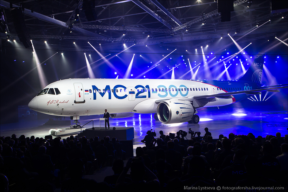 O MC-21 apresenta inúmeras inovações, entre elas, concepção estrutural. (Imagem: Rostec)