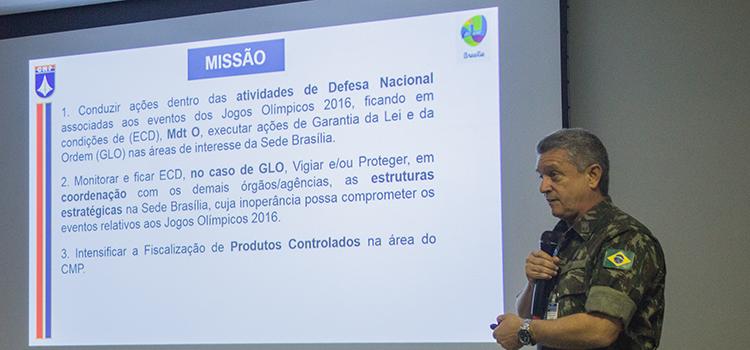 Na abertura, o general Leme falou das ações especificas do Comando Militar do Planalto para a segurança dos Jogos em Brasília. (Imagem: Exército Brasileiro)