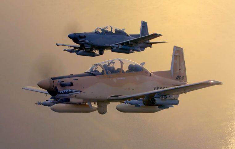 Os T-6C argentinos deverão ter capacidade para usar armamentos ar-solo. (Imagem: Beechcraft)
